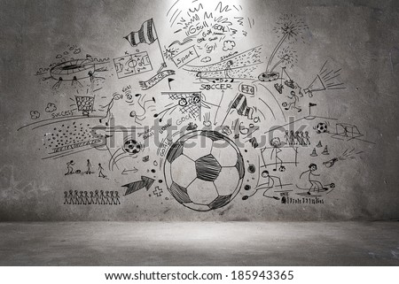 soccer doodle - stock photo