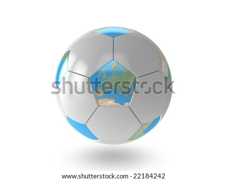 Soccer earth on white background - stock photo