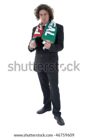 Soccer fan, isolated on white background - stock photo