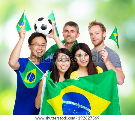 Soccer fans from different country - stock photo