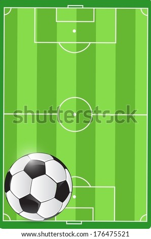 soccer field and ball illustration design graphic - stock photo