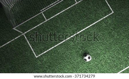 Soccer field and ball in center point - stock photo