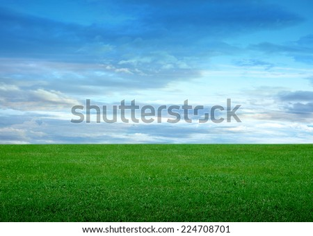 soccer field and beautiful blue sky  - stock photo