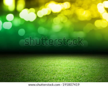 Soccer field and bokeh background  - stock photo