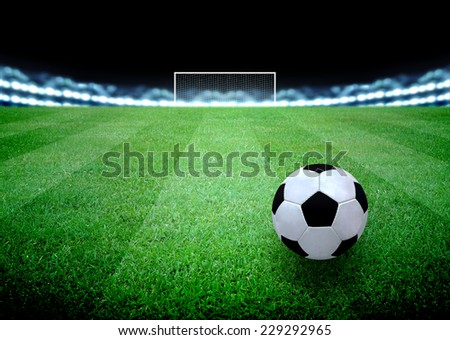 soccer field and the bright lights - stock photo