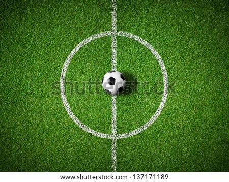 soccer field center and ball top view background - stock photo