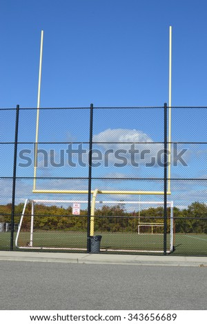 Soccer Field Goal Gate No Parking Sign - stock photo