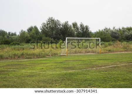 soccer field grass Goal at the stadium Soccer field - stock photo