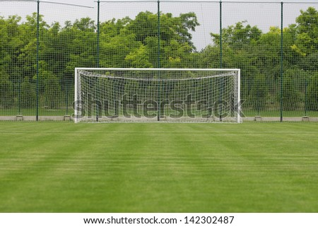 grass soccer field with goal.  Goal Soccer Field Grass Goal At The Stadium Soccer With White Lines On  On Grass Field With O