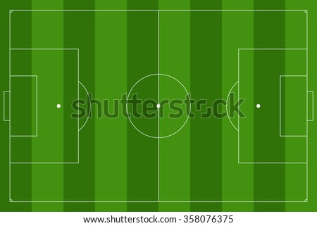 Soccer field. Green football stadium Top view.  Raster version isolated on white background.