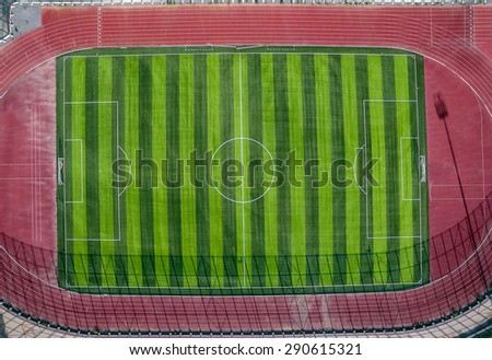 Soccer field high angle view. - stock photo
