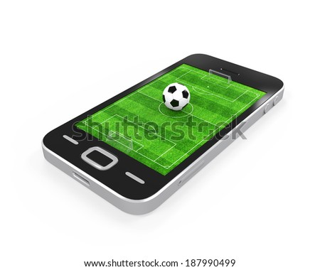 Soccer Field in Mobile Phone - stock photo