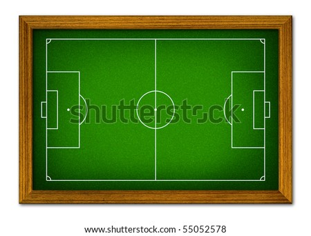 Soccer field in the wooden frame. - stock photo