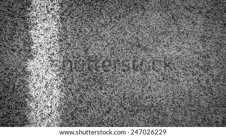 Soccer Field Line detail for Backgrounds or Texture black and white - stock photo