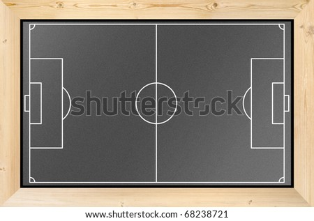 soccer field on black board frame