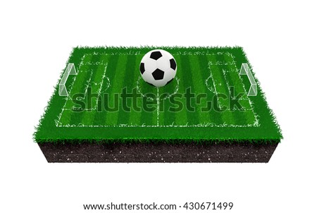 soccer field or football field, 3d rendering  - stock photo