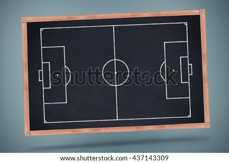 Soccer field plan against black chalkboard