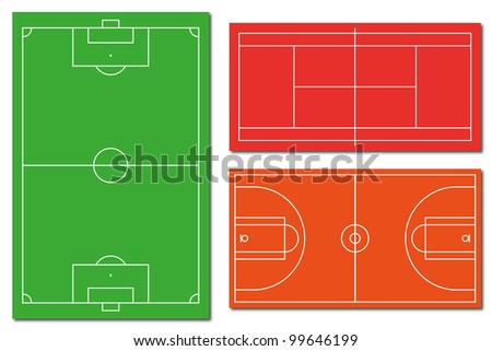 Soccer field tennis field and basketball field - stock photo
