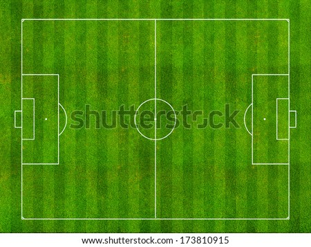 Soccer field top view - stock photo