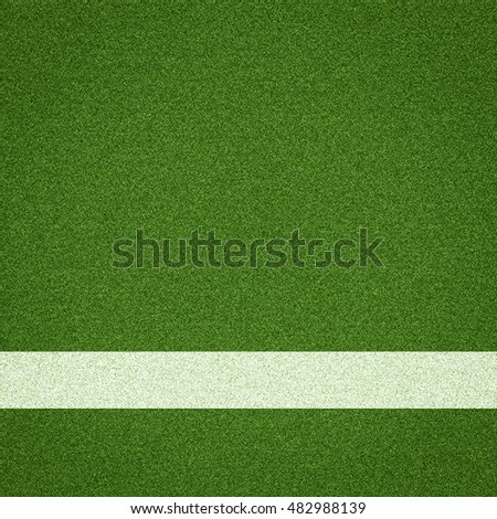Soccer field whit white stripe, Top view.