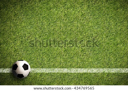 soccer field with a side line and a 3D rendered football - stock photo