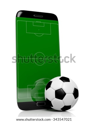 Soccer field with ball on smartphone edge display, isolated on white. - stock photo