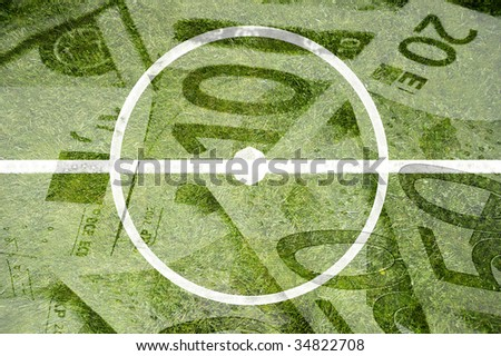 Soccer field with euro notes image faded