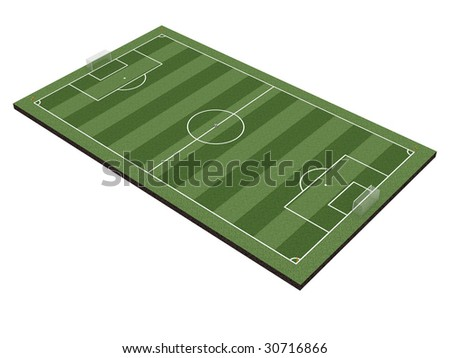 Soccer field with gates, corner flags and soccer ball, isolated on white. High resolution 3D image - stock photo