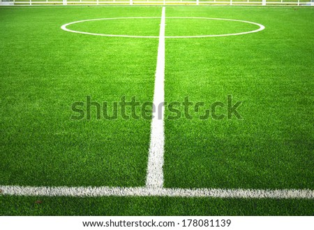 soccer field with green grass. - stock photo