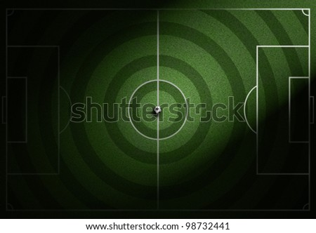 soccer field with soccer ball on grass - stock photo
