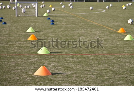 Soccer field with training materials horizontal - stock photo