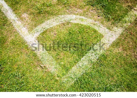 Soccer Field with white line - stock photo