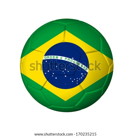 Soccer football ball with Brazil flag. Isolated on white.