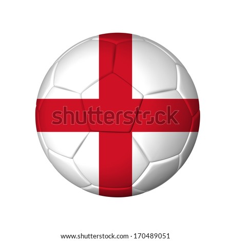 Soccer football ball with England flag. Isolated on white. - stock photo