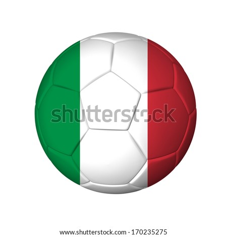 Soccer football ball with Italy flag. Isolated on white. - stock photo