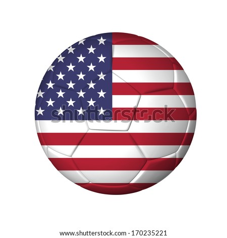 Soccer football ball with USA flag. Isolated on white. - stock photo