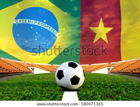 Soccer 2014 ( Football )  Brazil and Cameroon - stock photo