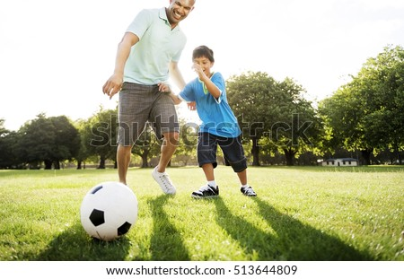 Soccer Football Field Father Son Activity Summer Concept