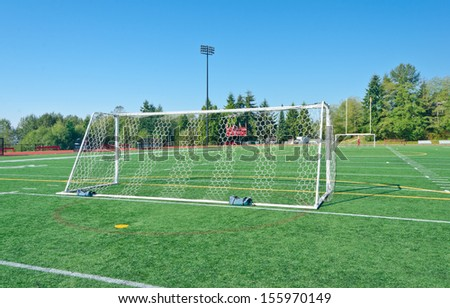 Soccer ( football ) field with gates. - stock photo