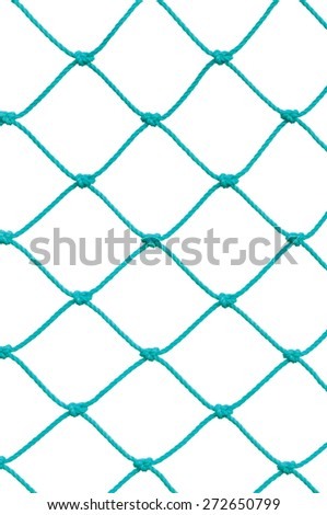 Soccer Football Goal Post Set Net Rope Detail, New Green Goalnet Netting Ropes Knots Pattern, Vertical Macro Closeup, Isolated Large Detailed Blank Empty Copy Space Background - stock photo