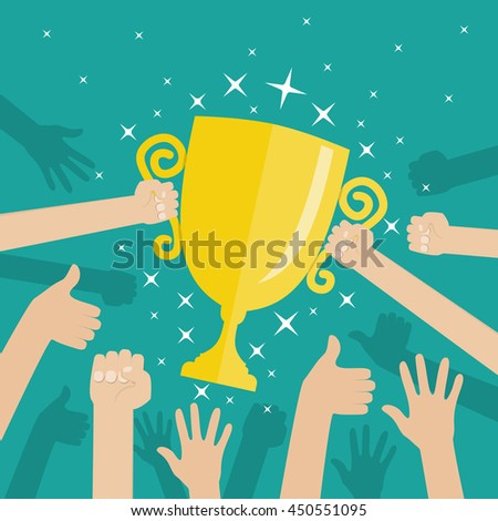 Soccer football gold trophy for winner. hands holding gold winners cup. illustration on green background in flat style Raster version.
