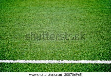 Soccer football grass field - stock photo