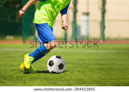 Soccer football match game. Training and football soccer tournament - stock photo