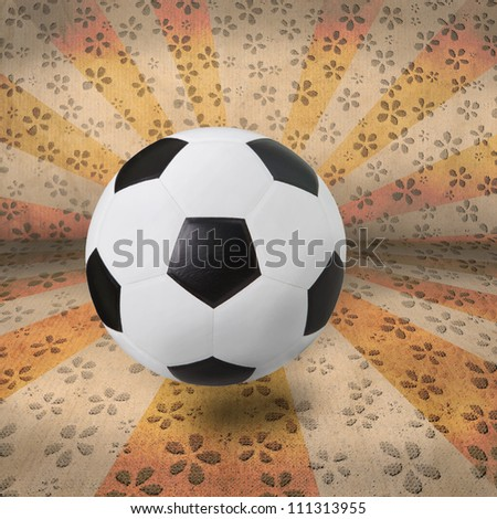 soccer football on color ray background - stock photo