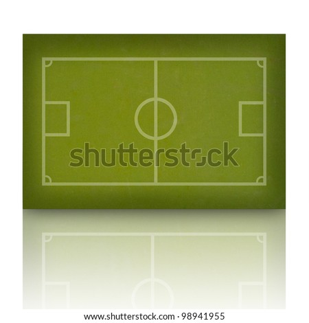 Soccer football on grass field, white background