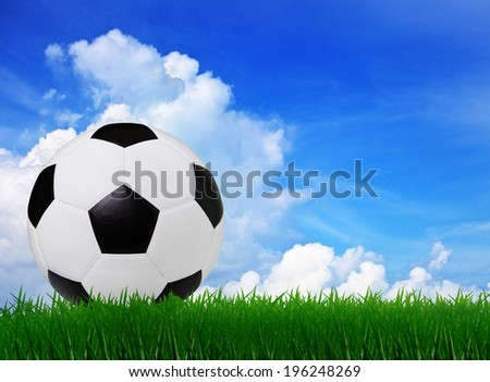 soccer football on  green grass sport stadium with copy space  use for math competition background
