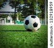 Soccer Football on Penalty spot for Penalty Kick. - stock