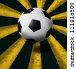 soccer football on yellow and black ray background - stock photo
