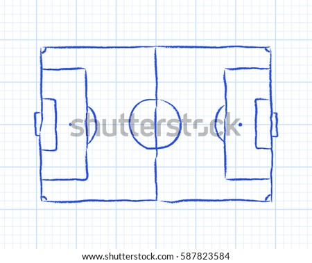 Soccer Football Pitch Diagram On Graph Stock Illustration 587823584