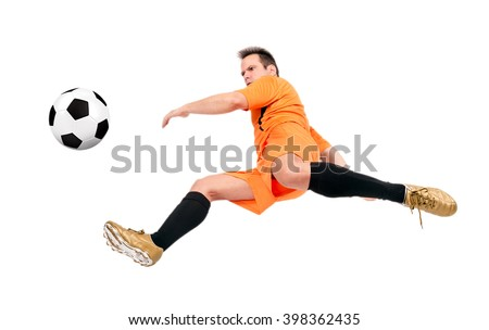 Soccer football player kicking the ball isolated on a white background. Footballer running with a ball. - stock photo